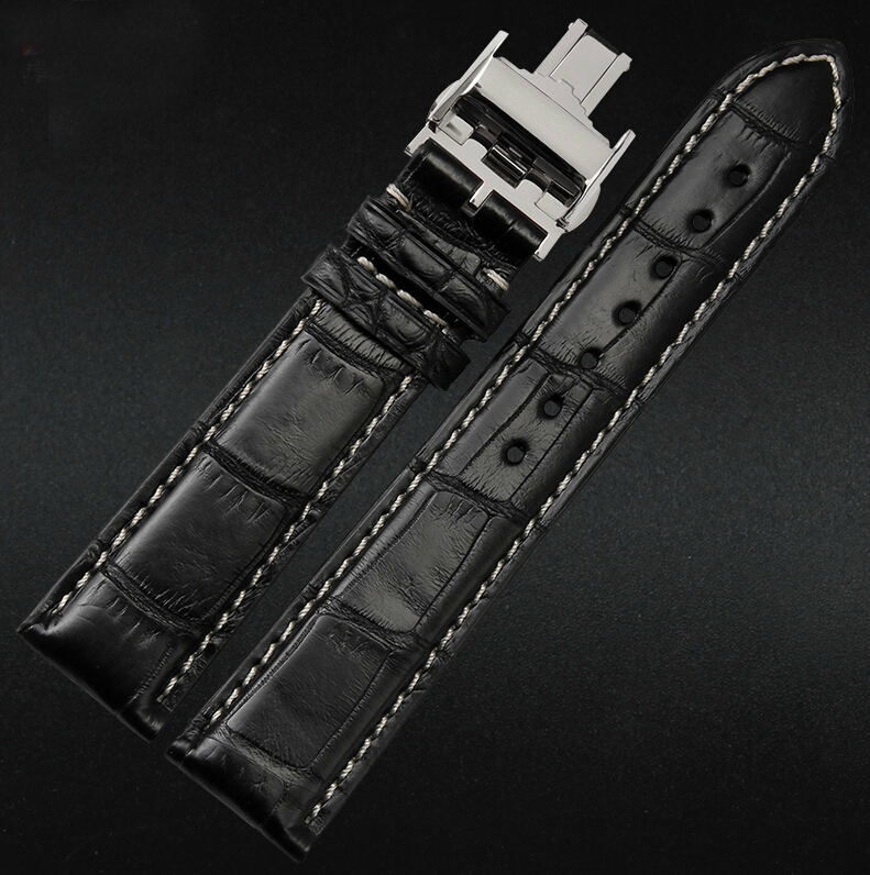 18mm 19mm 20mm 21m 22mm New Men`s White Stitching Real Crocodile Genuine Leather Watch Band Strap Bracelets Dpolyment Buckle