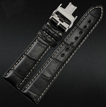 18mm 19mm 20mm 21m 22mm New Men s White Stitching Real Crocodile Genuine Leather Watch Band