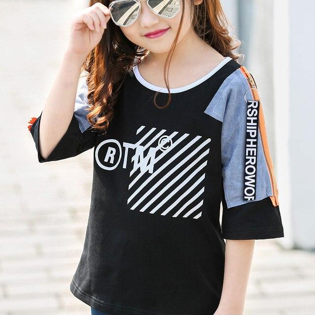 af9633054d 2017 lato koszula fajne ubrania dla dziewczyny moda pół rękawa koszulka  bawełniana uczeń dziewczyny czarny białe