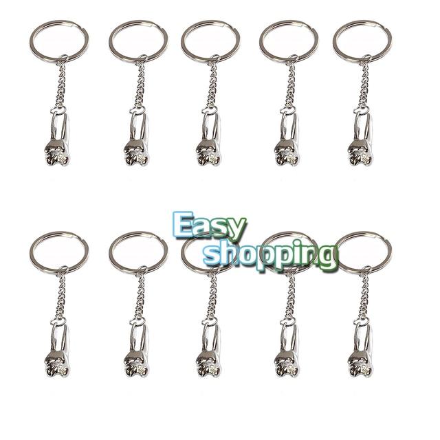 10Pcs/Set Silver Dental Clinic Gift Cartoon Teeth Keychain Dentist Decoration Keychains