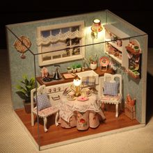 CUTE ROOM 3D Doll House Miniature Model Kitchen Kits DIY Miniaturas Dollhouse with Furnitures Wooden Toys for Children Gifts(China)
