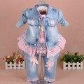 Nieuwe 2017 meisjes kleding set 3 stks kids meisje denim set baby meisje kleding sets voor verjaardag jas + t shirt + jeans kleding set