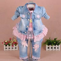 New 2016 Autumn Girls High Quality Denim Jacket Sally Patchwork Flower T Shirt Clothing Sets 3pc