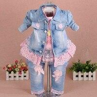 New 2016 Autumn Girls High Quality Denim Jacket Sally Patchwork Flower T Shirt Clothing Sets 3pc