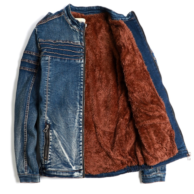 Mens Denim Jeans Zipper Coats Jacket Fleece Liner Thick Winter Motorcycle Peacoat Outwear Slim Fit New A418 - 2