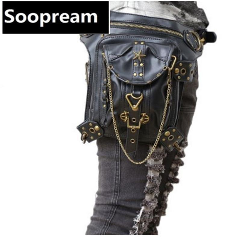 2017 Fashion new retro Steam punk PU Leather waist packs women Waistpack belt bag men pouch PU leather waist bag Phone Pouch