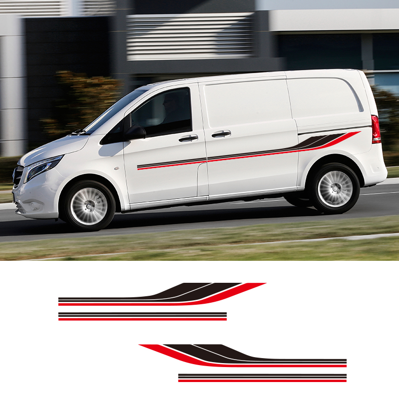 1 Pair 2 Sides Motorhome Stripes Camper Van Graphics Stickers Universal Vinyl Decals For Mercedes Vito