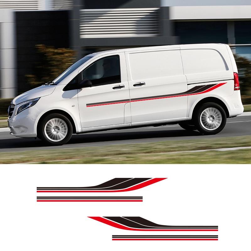 1 para 2 strony samochody kempingowe paski Camper grafika naklejki uniwersalne etykiety winylowe dla mercedesa Vito Ford Transit Renault Kang