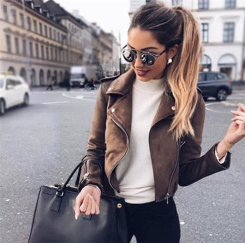 Spring Autumn Women   Leather   Coats New 2018 Slim Woman   Suede   Bikers Jacket Ladies Zipper Black Moto Coat Casaco Couro Feminino