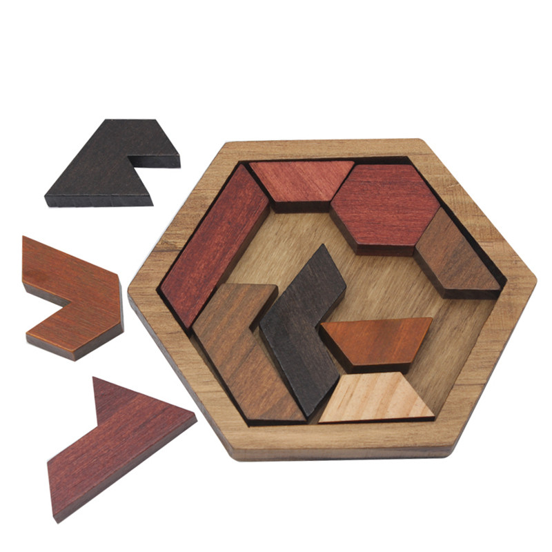 Puzzles Learning Education Toys Funny 3D Puzzle Game Wooden Toy For Children Jigsaw Tangram Board Geometric Shape