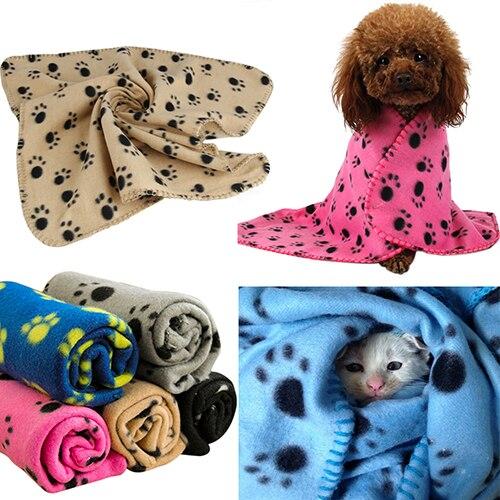 Wholesale Pet Cat Kitten Dog Puppy Winter Blanket Warm Beds Mat Cover Soft Fleece Paw Print Dogs Cats Pet Blanket Fleece Towel