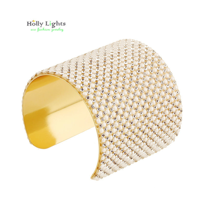 New womens pearl carter cute bracelet&bangles wide wrap clear crystal arm cuff gold-color mujer perola pulseiras luxury jewelry