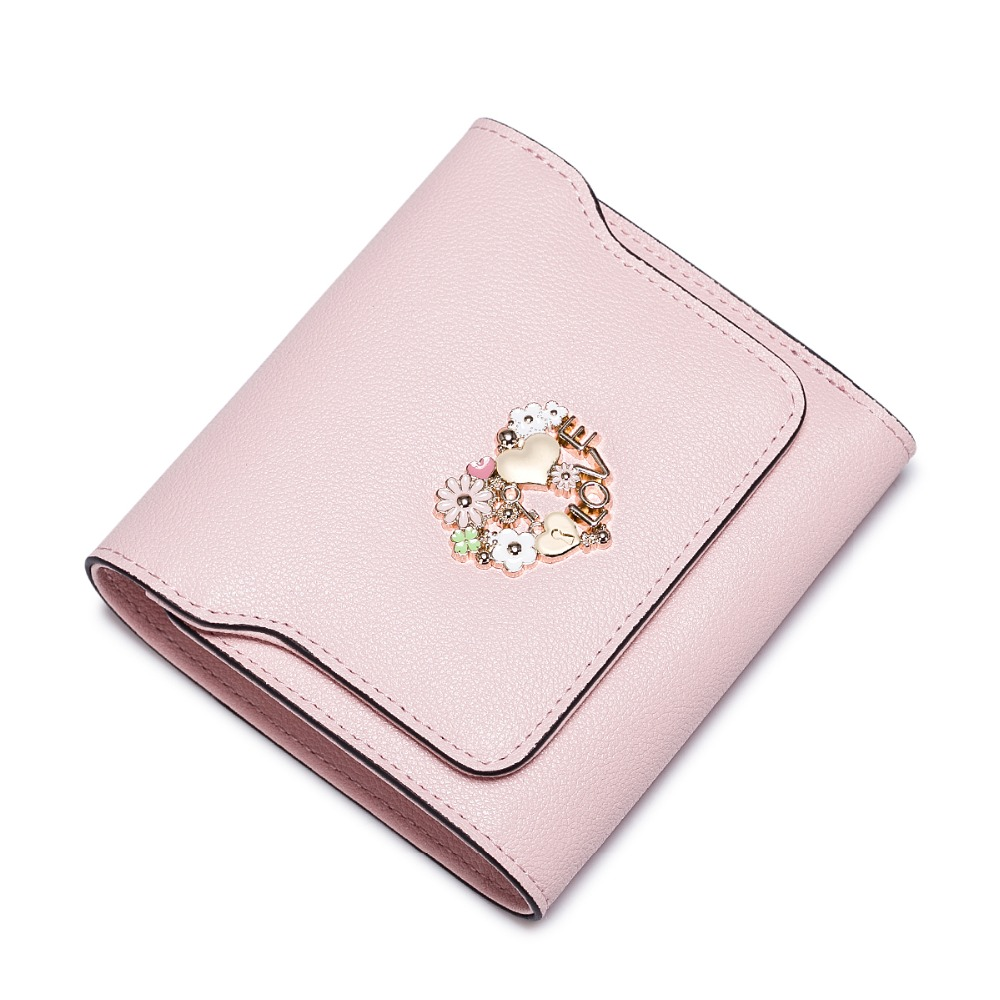 2016 New font b Women s b font Metal Floral Cowhide Leather Trifold Mini Short font