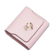 2016 New Women's Metal Floral Cowhide Leather Trifold Mini Short Wallet Card Holder Ladies Small Purse