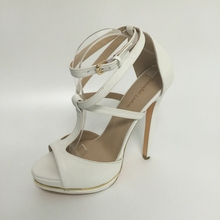 White PU Women Sandals Buckle Strap High Heels Custom Made Zapatillas Mujer Chaussures Femme Criss Cross Shoes Bridal Shoes