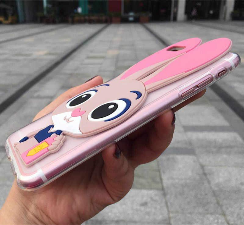 3d bonito coelho caso de telefone para samsung galaxy s2 s3 s4 s5 mini s6 s7 borda s8 s9 s10 plus lite 5g s10e dos desenhos animados capa traseira casos