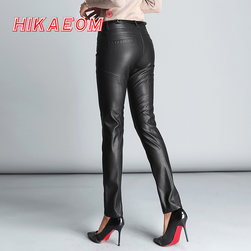 PU Leather Mid Waist Pants Women Sexy Hip Fashion Autumn Winter Pencil Pants Legging Jegging Trousers Women Pantalon Femme 2020