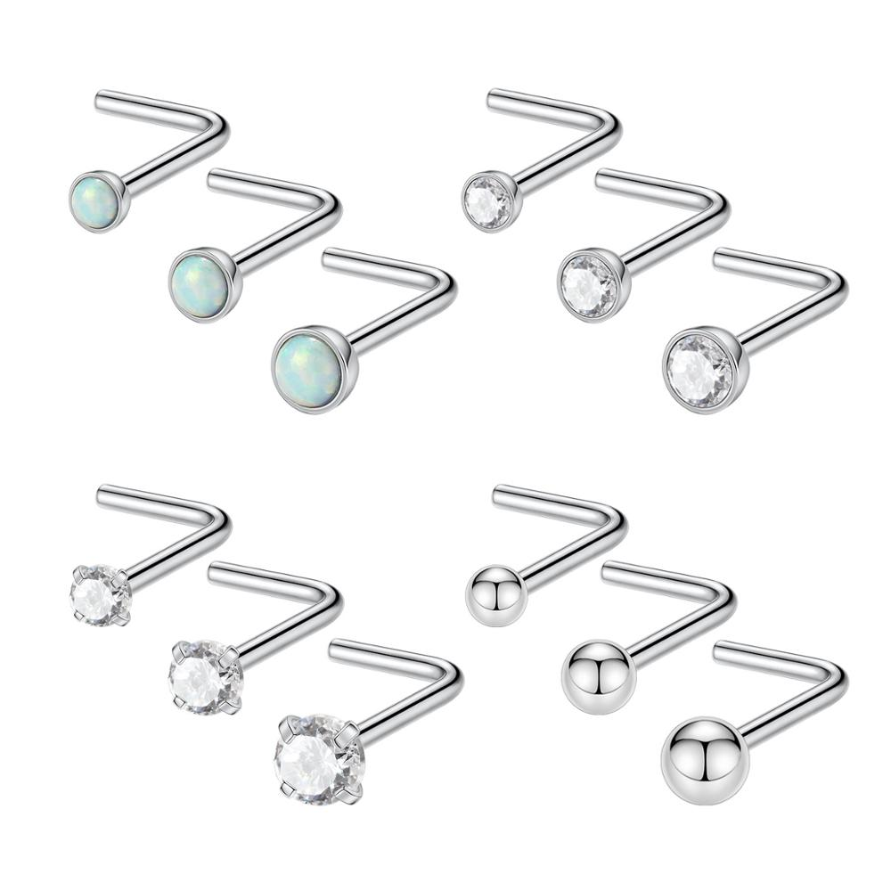 Gagabody 20g Nose Studs Surgical Steel L Shape Nostril Studs
