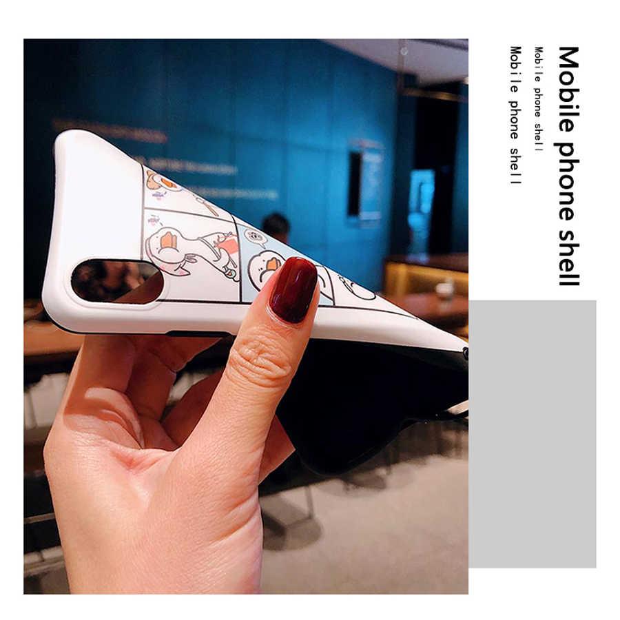 Para o iphone xs x 8 7 plus 6 6s mais caso capa moda bonito dos desenhos animados pato pintado com alça de ombro macio silicone saco do telefone