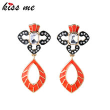 Unique Modern Women Vintage Hollow Out Enamel Inlay Crystal Pendant Earrings Factory Wholesale(China)