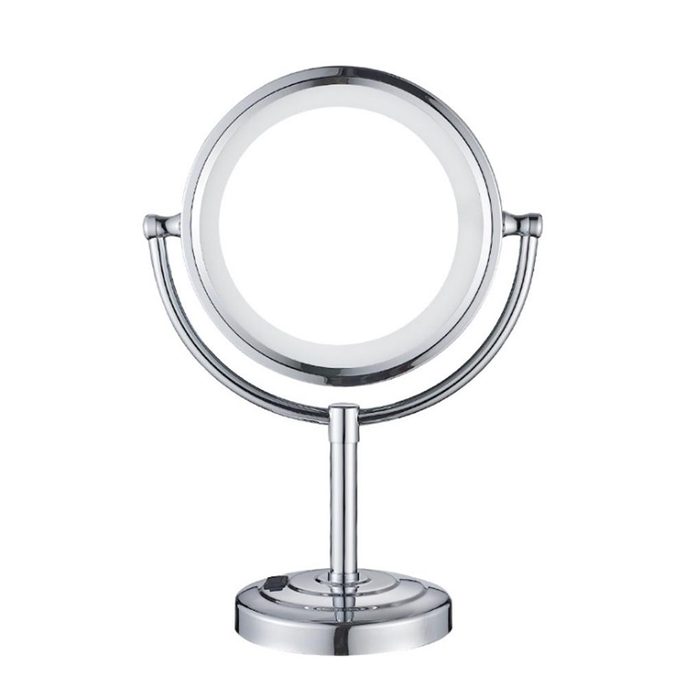 European Plug LED Makeup Magnifying Mirror Bathroom Desktop Double Sided Copper Metal Creative Makeup Mirror 10 Times Magnifying