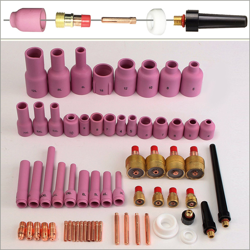 TIG Gas Lens,Back Cap Collet Body Assorted Size Fit TIG Torch SR WP9 20 25,63PK 2018 New Arrival