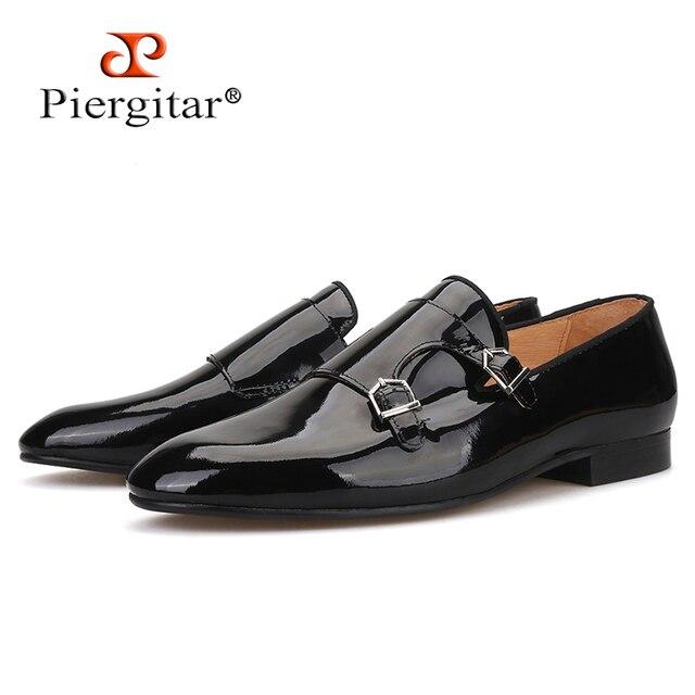 Piergitar 2019 Mới màu Đen Bằng Sáng Chế da nam Đầm giày với khóa kim loại Thời Trang Đảng và cưới nam cho nữ Plus kích thước