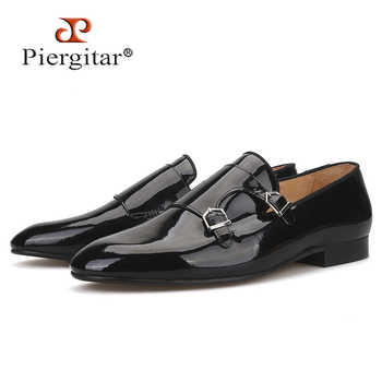 Piergitar 2019 New Black colors Patent leather men dress shoes with metal buckle Fashion Party and wedding men loafers plus size - DISCOUNT ITEM  0% OFF All Category