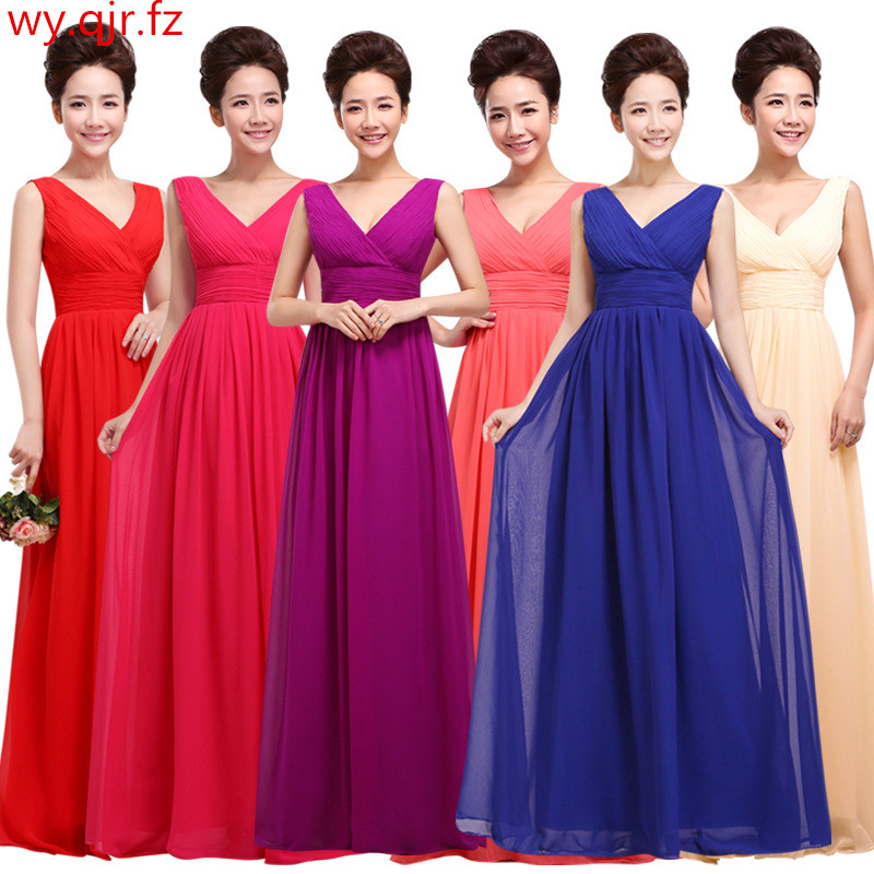 QNZL80 Wholesale Custom V neck Chiffon purple Blue Wine Red long lace up Bridesmaid Dresses Wedding
