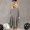 Baby Kids Clothes Casual Style Asymmetrical Striped Princess Dress Girl Party for Children Clothing Long Sleeve Girls Dress 2016