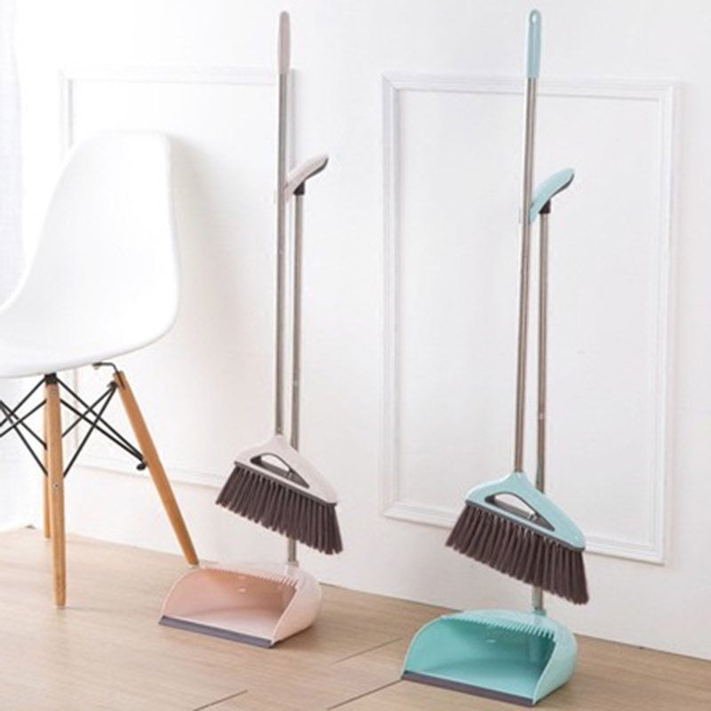 Ferramentas de Limpeza Doméstica de Aço Limpo e Macio Dobrável Inoxidável pp Plástico Vassoura Combinação pá Vassoura Dustless Cabelo Terno