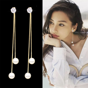 Fashion Long Tassel Simulated Pearl Drop Earrings for women girl Rhinestone exquisite Snake Chain Pendant Earring Brincos Bijoux 1