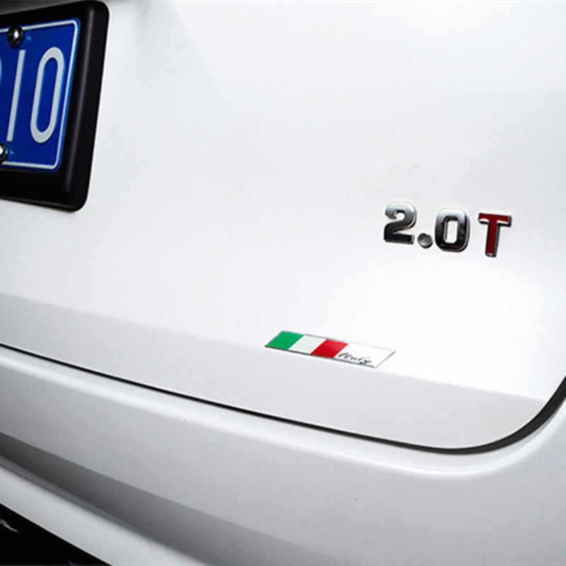 3D alüminyum araba İtalyan İtalya haritası ulusal bayrak Sticker ızgara amblemi motosiklet çıkartması Ferrari Fiat Piaggio Vespa Ford Alfa