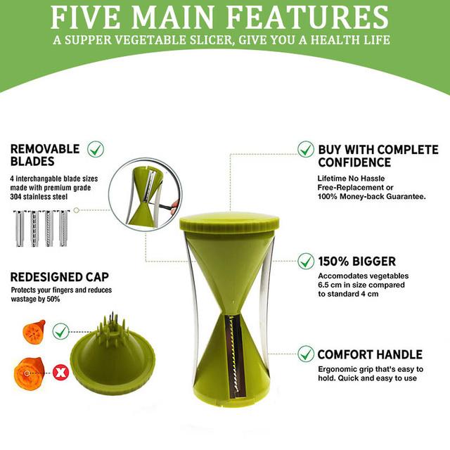 Green vegetable slicer with 4 Blades Spiral