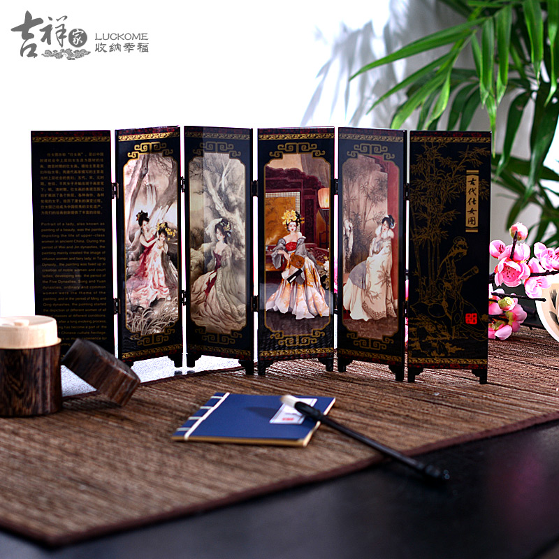 home decor chinese lacquer painting beautiful folding screen songhe pattern cranes longevity figurechina