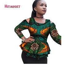 2018 New Dashiki African Women Clothing Bazin Riche 2017 Fashion Elegant O-Neck Crop Top Shirts Ankara African Clothing WY2100