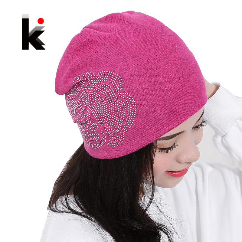 Womens Beanie Autumn And Winter Brand Knitted Hat Turban Flowers Diamond Skullies Hip-hop Cap Ladies Lnit Hats For Women Beanies