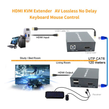 цена на 2019 120m HDMI KVM Extender No Loss No Delay HDMI USB Extender RJ45 HDMI USB KVM Extender Transmitter Receiver Over Cat5e Cat6