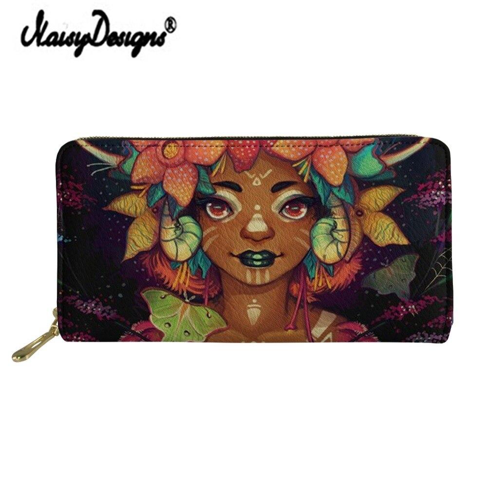 Noisydesigns Art Afro Girl Print Women's Wallet Luxury Zipper PU Clutch Kawaii Portfel Portable Bag Ladies Money Coin Long Purse