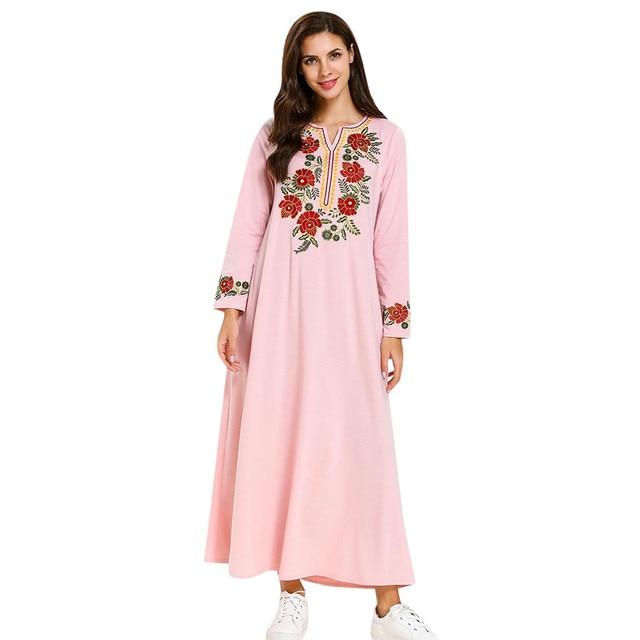18d479556 De moda de algodón las mujeres musulmanas modesto vestido Maxi Abaya Turquía  traje largo Kaftan ropa musulmana 2019 nuevas llegadas