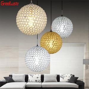 Image 2 - LED Ball Pendant Lights Crystal Pendant Lamp Lustres Hanglamp Fixtures Lamparas Colgantes Abajur Luminaires for Dining Room E27