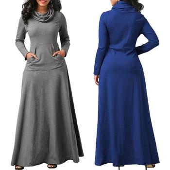 Women Long Sleeve Dress Large Size Elegant Long Maxi Dress Autumn Warm Turtleneck Woman Clothing With Pocket Plus Size Bigsweety 1