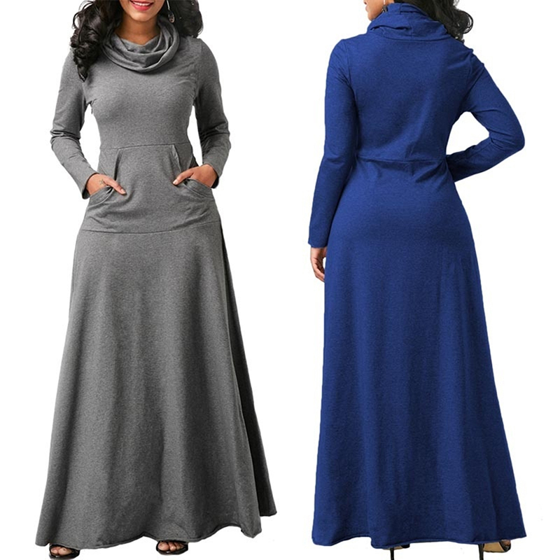 Women Long Sleeve Dress Large Size Elegant Long Maxi Dress Autumn Warm Turtleneck Woman Clothing With Pocket Plus Size Bigsweety