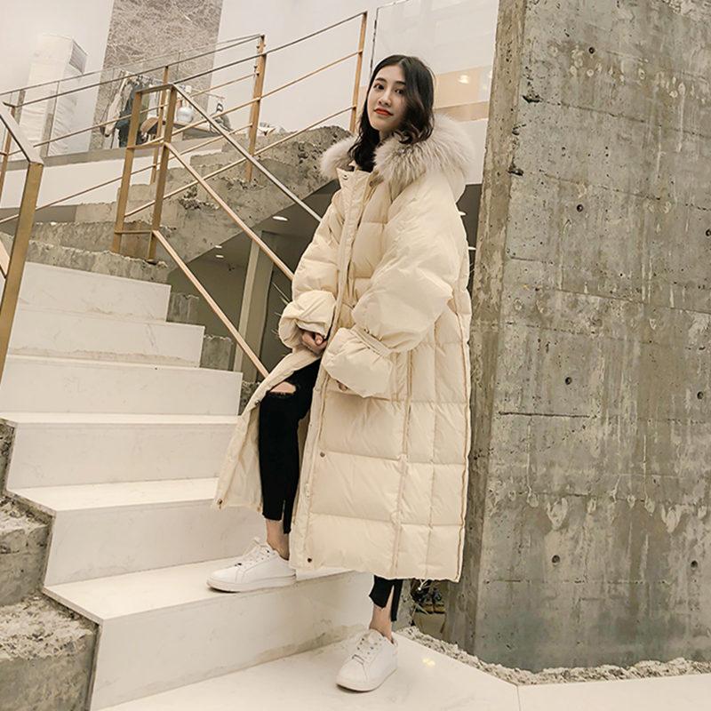 Style Chauds Ac294 Fourrure À Doudoune Pull Blanc 2019 Décontracté D'extérieur Lâche Vêtements Beige Coréen X Nouveau D'hiver Canard longue Élégant Extérieure Femmes Capuche MpGLVjqUzS