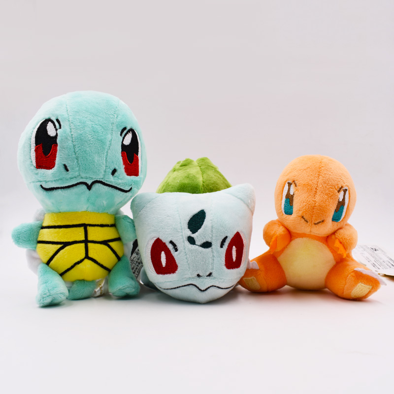 2017 Hot Sales 3pcs/set Pikachu Charizard Bulbasaur Squirtle Plush Toys Doll Collectible Bulbasaur Charmander Squirtle