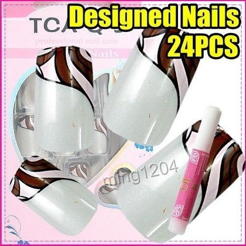 Best Selling Freeshipping 24pcs/set Fashion designed ladies Nail Art Tip + Glue C236