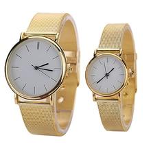 2015 New Unisex Men's Women's Quartz Wrist Watch Analog Round Case Gold Tone Meshband Alloy Wristwatch New Arrival 5V7K W2E8D