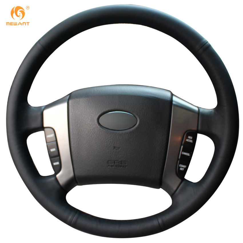 MEWANT Black Genuine Leather Car Steering Wheel Cover for Old Kia Sorento 2004-2008 first layer leather car steering wheel cover for 2003 2004 2005 2006 2007 2008 2009 kia sorento braid on the steering wheel