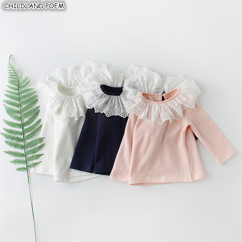 <font><b>Baby</b></font> Girls T-<font><b>shirt</b></font> Autumn Winter Lace Ruffle Collar Girls Tops Long Sleeve 100% Cotton <font><b>Baby</b></font> <font><b>Basic</b></font> Clothes <font><b>Baby</b></font> Blouse Tops Girl image