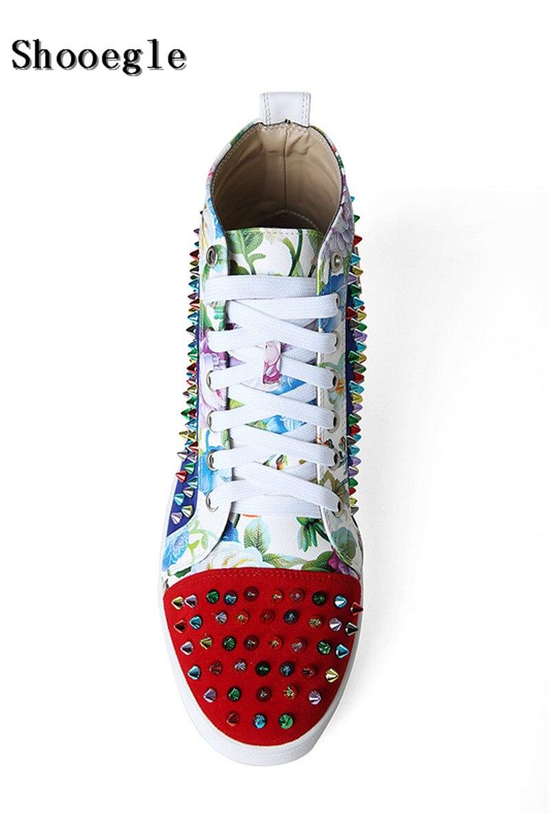 SHOOEGLE Nuovi Uomini Big Size 39 46 Spike Shoes Fashion Appartamenti High top Uomini Stivaletti Piattaforma di Stampa Colorful Rivetti Studs Scarpe - 3